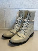 Justin Diamond White Leather Combat Boots 6