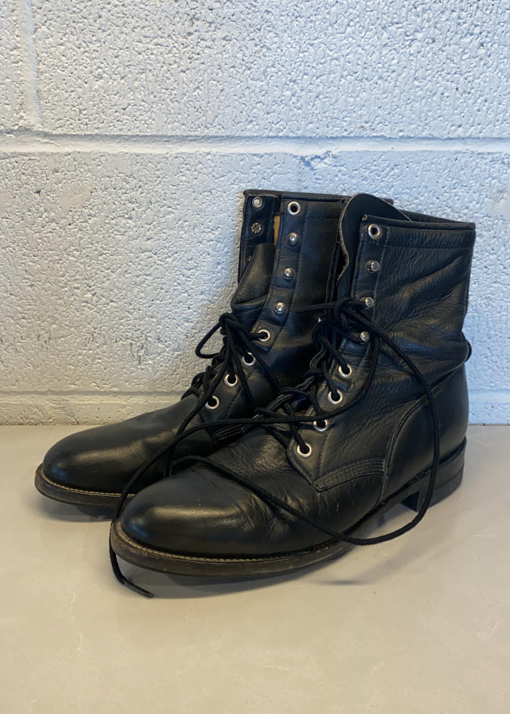 black leather combat boots 7
