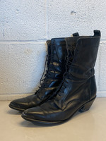 Black leather lace up pointed toe boots 7.5