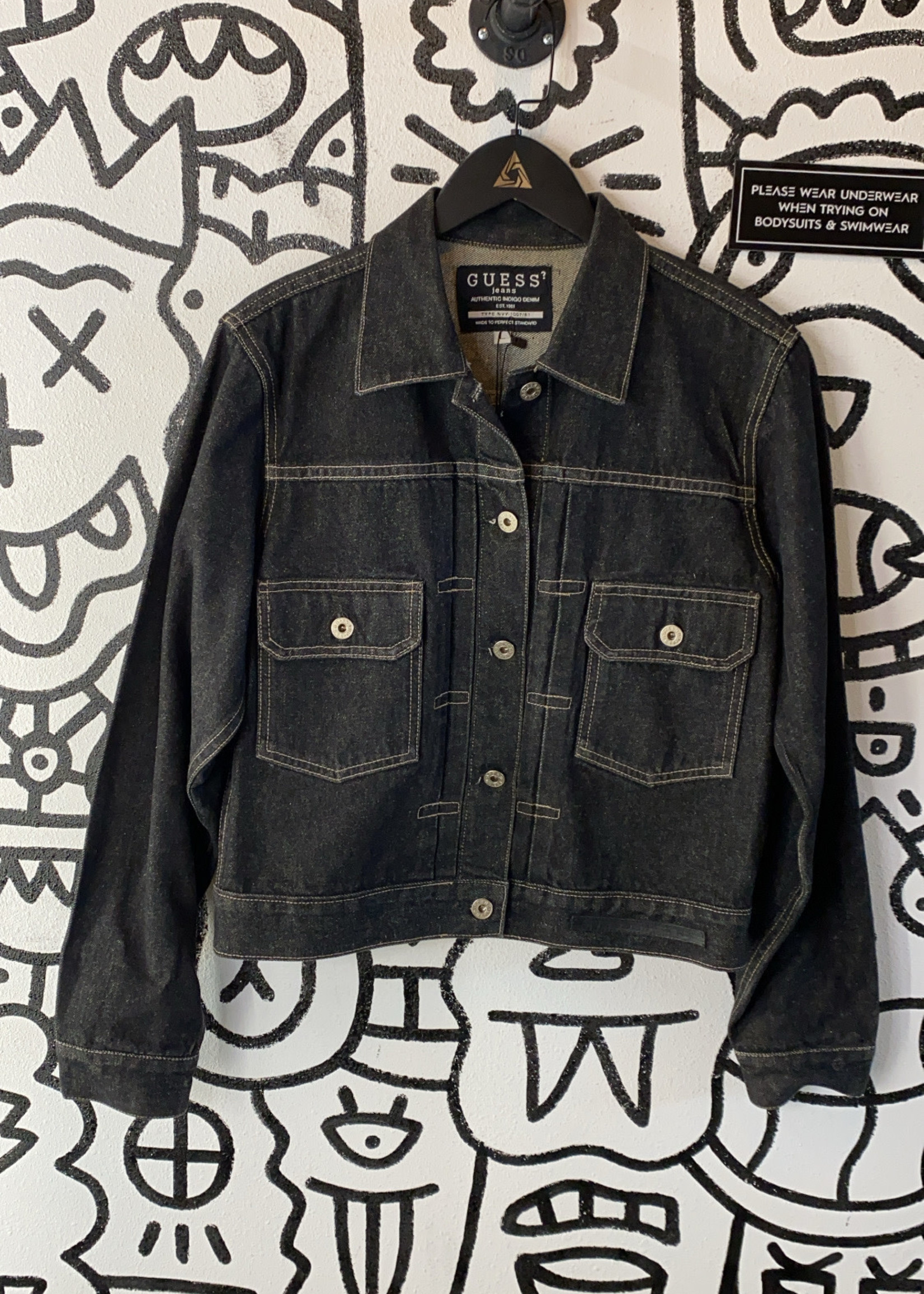 Vintage Guess Black Wash Denim Button Down Jacket L