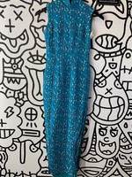 Vintage Teal Polka Dot Sparkly Long Dress XS