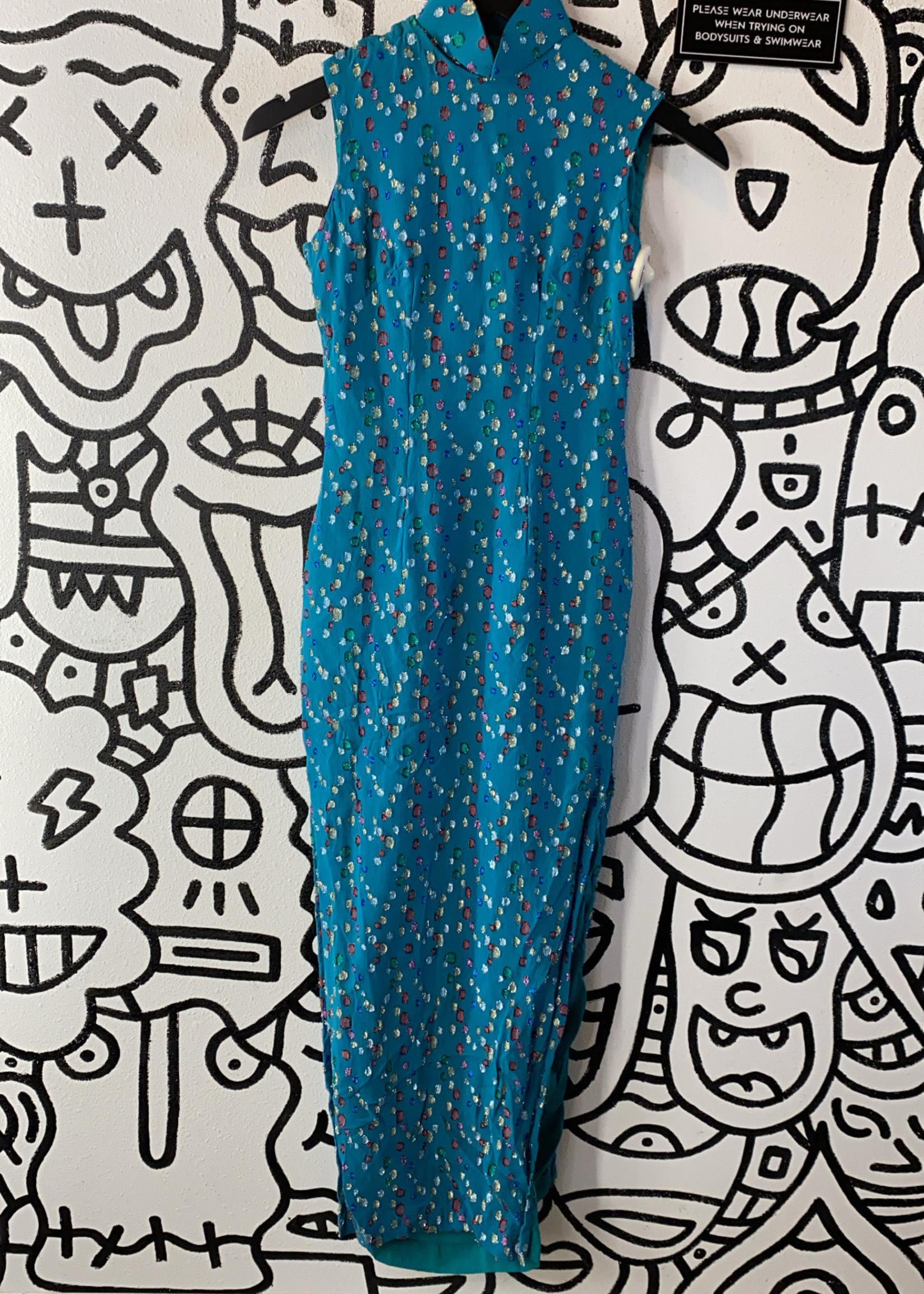 Vintage Teal Polka Dot Sparkly Long Dress XXS