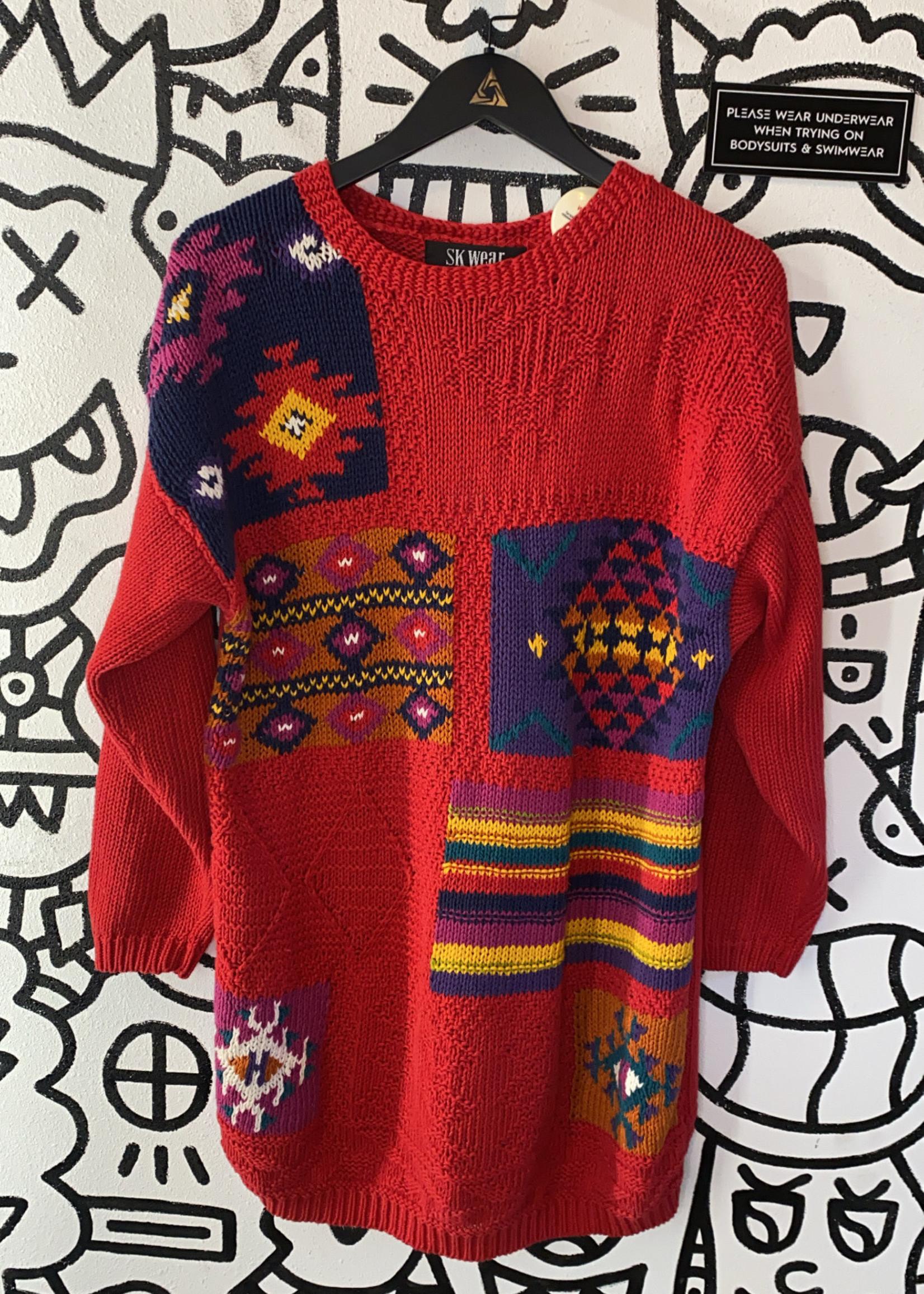 Sk Wear Vintage Red Long Sweater S