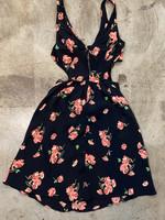 Reformation Black Sheer Rose Dress 6