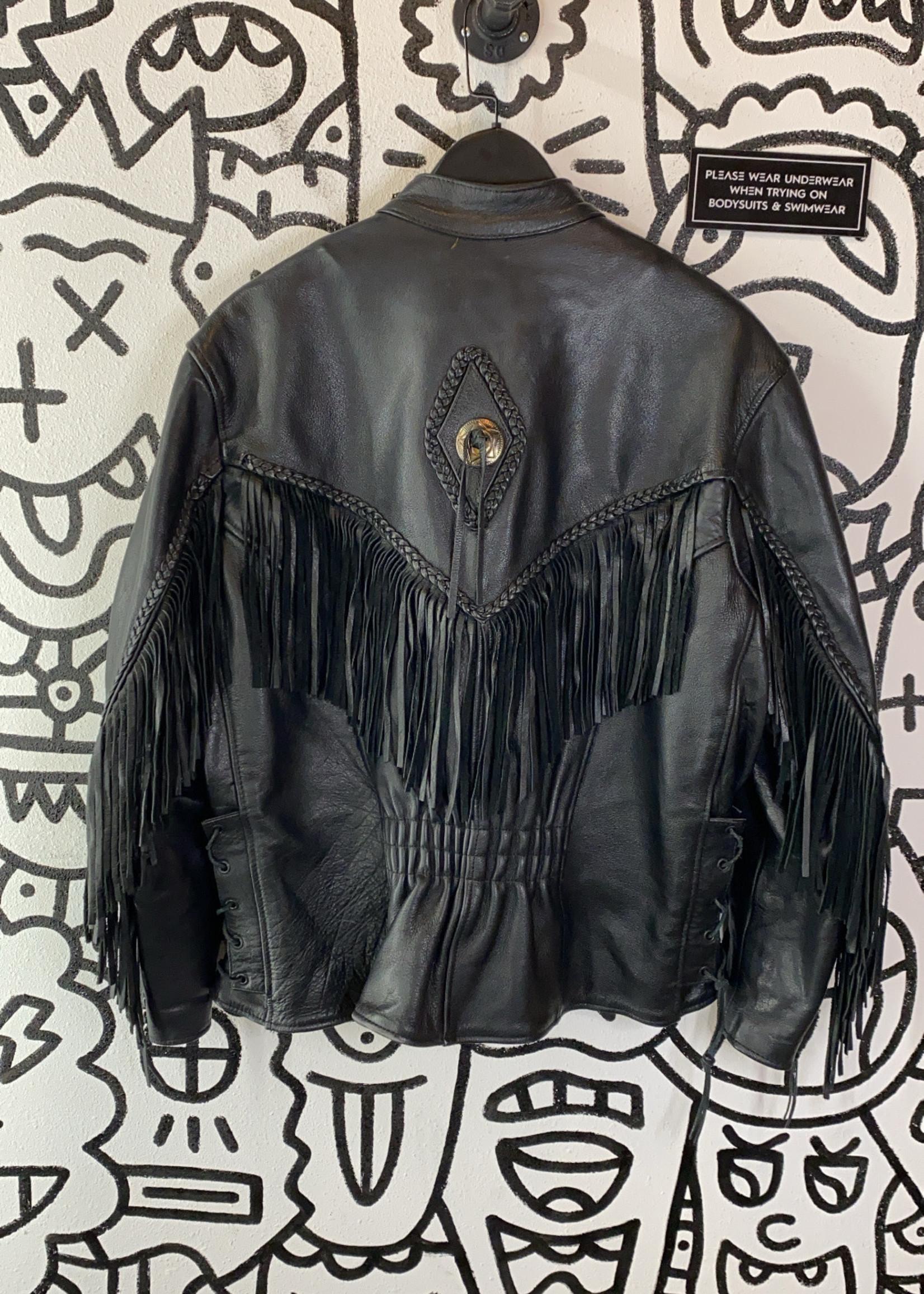 Vintage Black Leather Fringe Western Jacket L