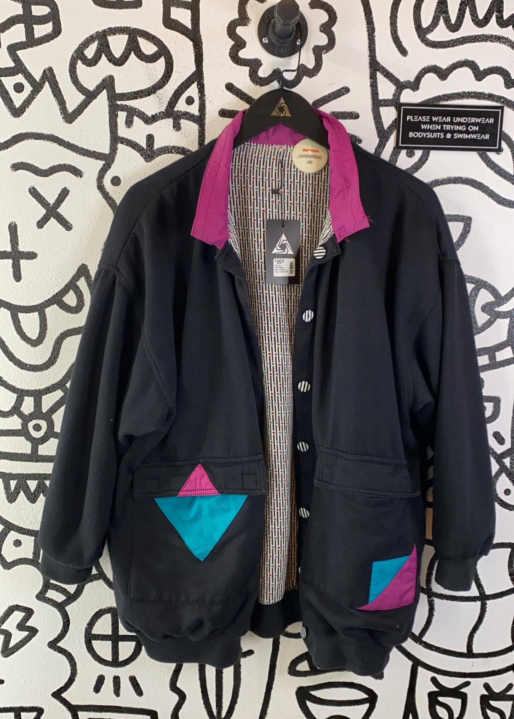 Vintage Reversible Black/Pattern '80s Jacket M