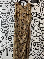 Vintage Maggy London Black Brown Floral Pattern Tie Dress 8 M