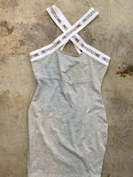 NWT Pretty Little Thing Grey Dress with Logo Straps 8 M