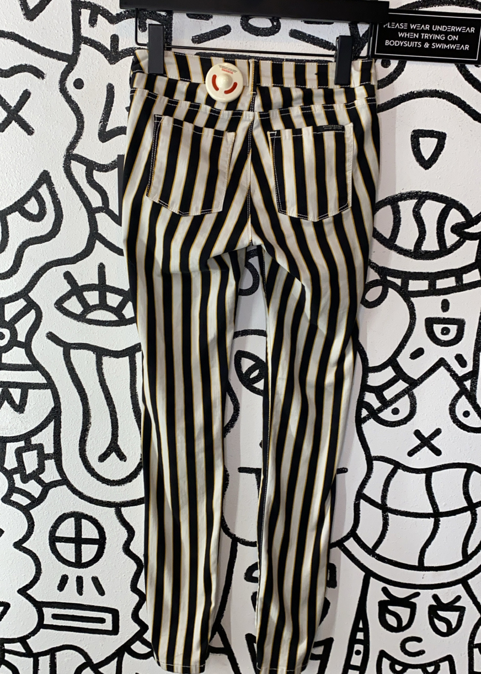 Scotch and Soda Vertical Stripe black and yellow skinny jeans 24
