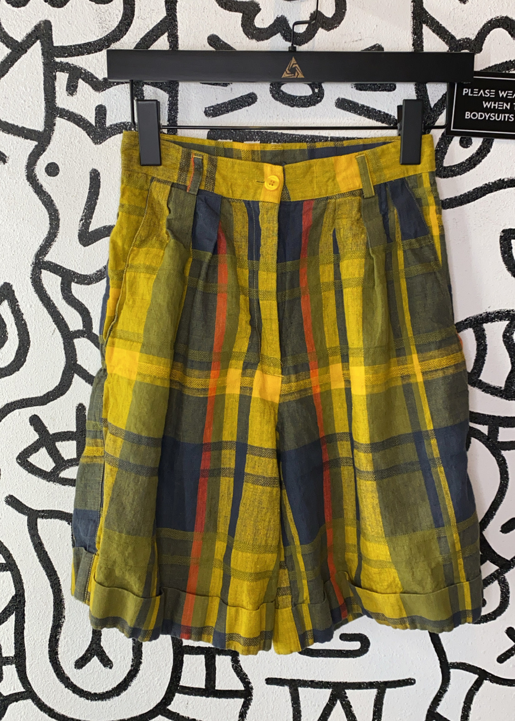 """Vintage DL Lawrence Yellow Plaid Shorts 25"""""""