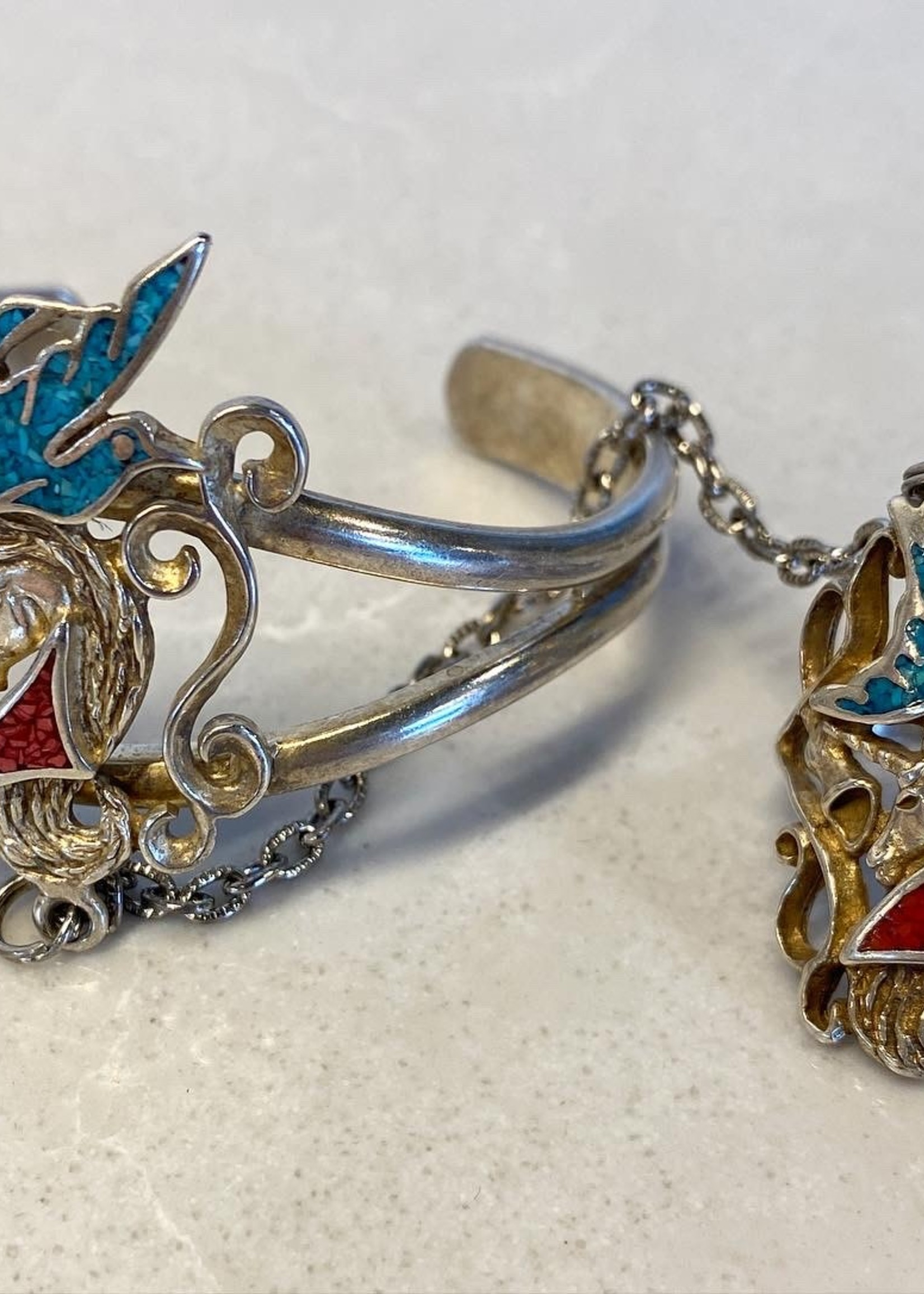 Vintage 1985 Sterling Bangle/Ring Coral & Turquoise 9