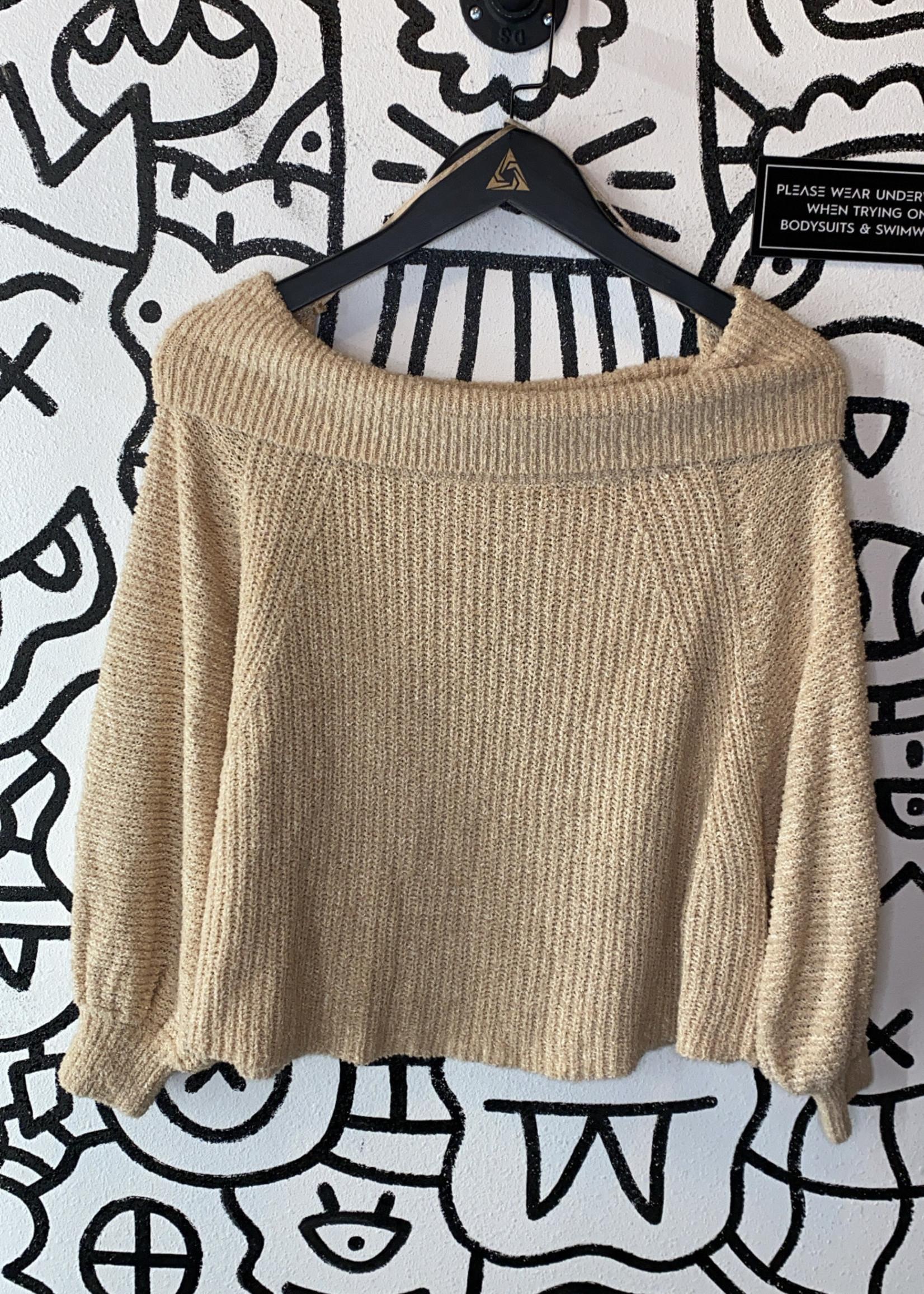 Free Peope Beige Knit 3/4 Sleeve Sweater S