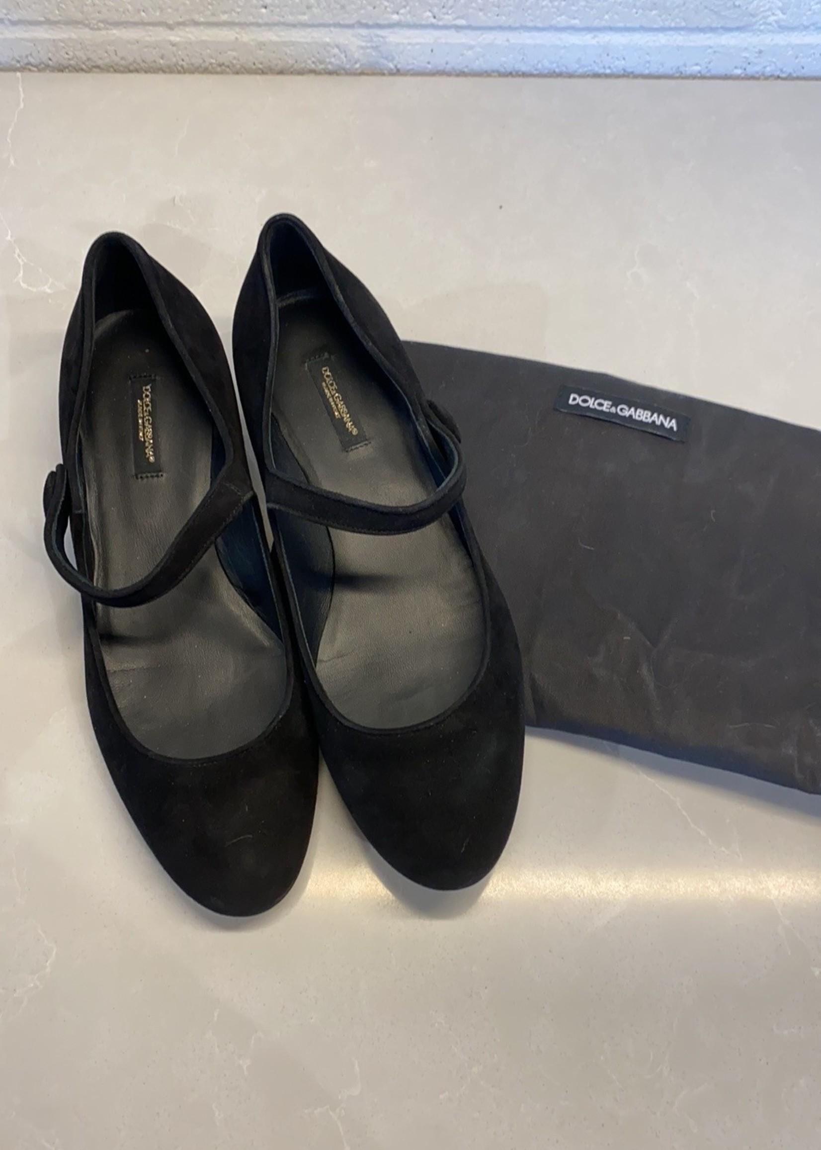 Dolce & Gabbana Black Suede Kitten Heel Sandals 39