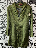Tangyu Green Silky Oriental Long Jacket XS