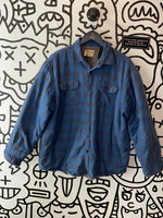 Wrangler Authentic Distressed Blue Plaid Fleece Flannel L
