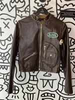 Vintage Von Dutch Leather Brown Patch Jacket L