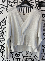 Free People White Knit Criss Cross Sweater S