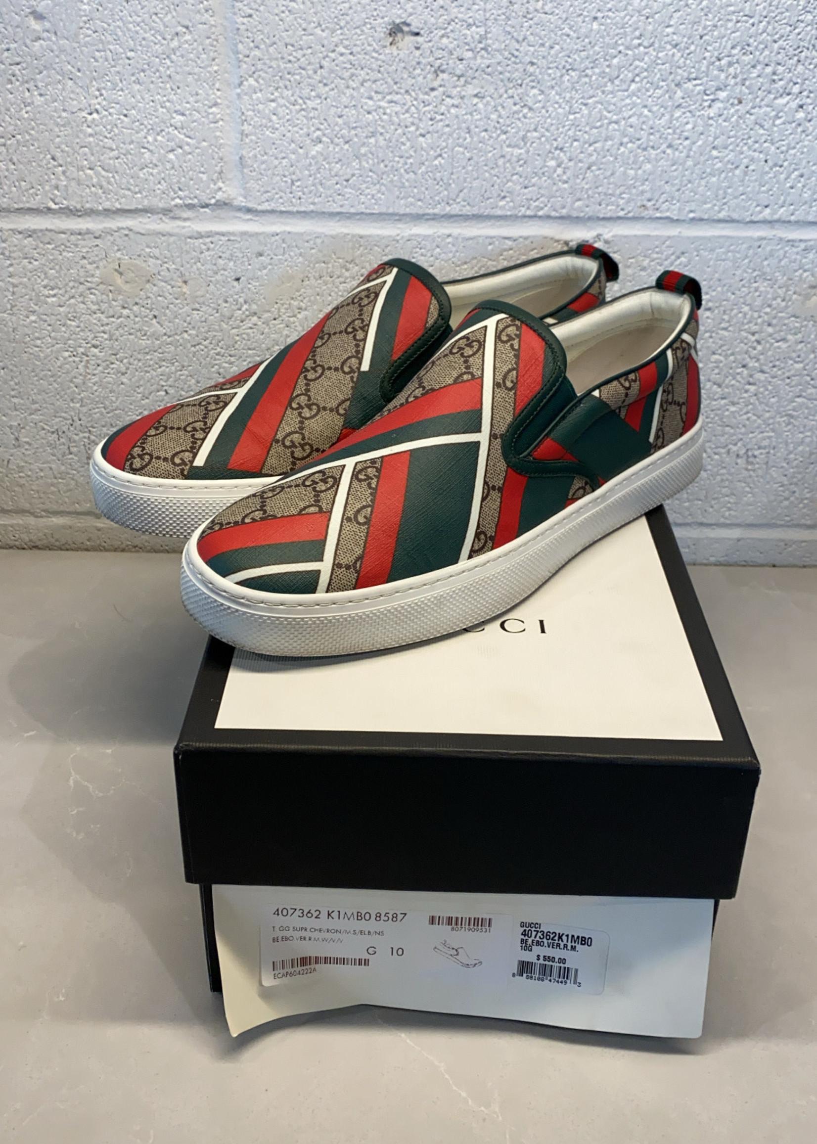 Gucci Chevron Slip On Sneakers 10