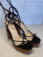Public Desire Black Strappy Platform Heels 8