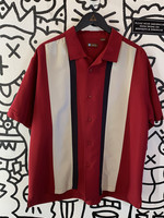 Centro Red White Black Stripe Button Down XL