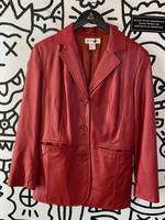 Preston & Yorke Lamb Skin Red Button Down Long Jacket M