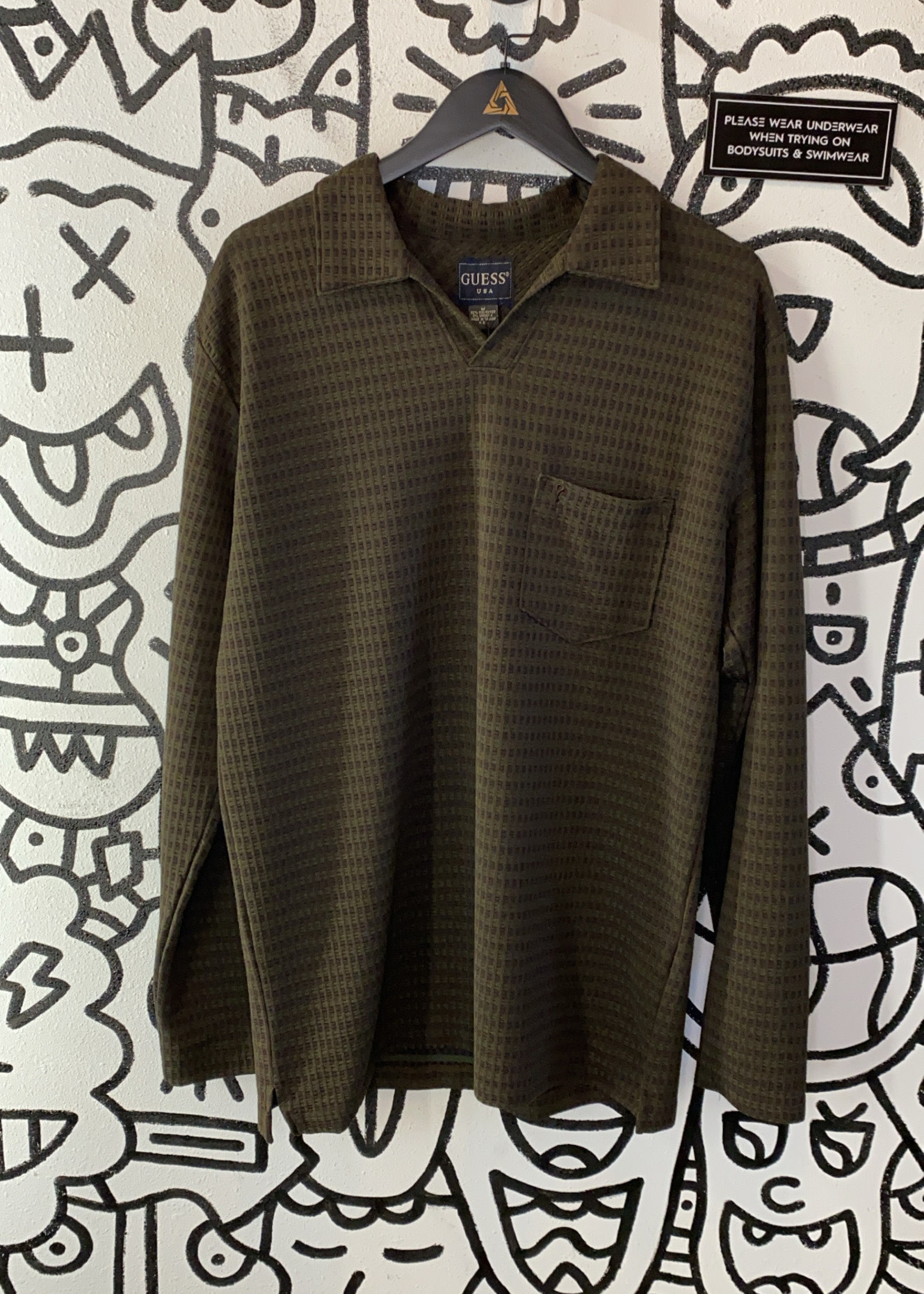 Vintage Guess Collared Brown Long Sleeve M