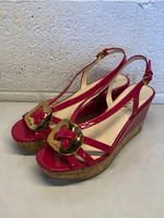 Prada Hot Pink Patent Leather Wedges 38.5