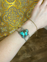 Vintage Sterling Silver Bangle with Large Turquoise Stone