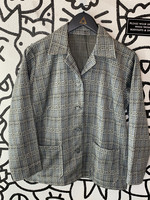 No Label Vintage Grey Plaid Button Down Blazer S