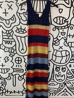 Maxi Crochet Knit tank top Horizontal stripe dress M