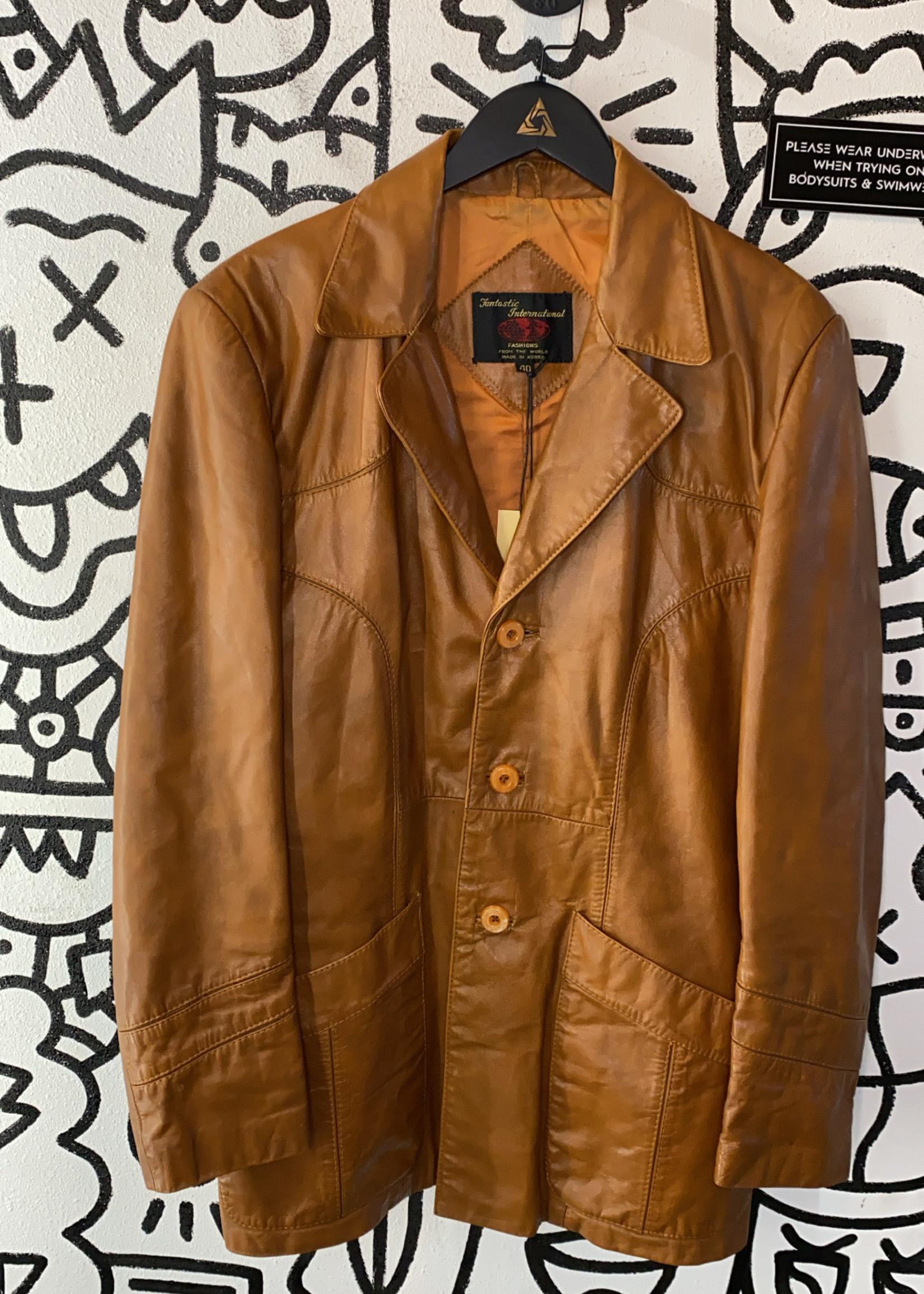 Fantastic International Carmel Color Leather Jacket 40