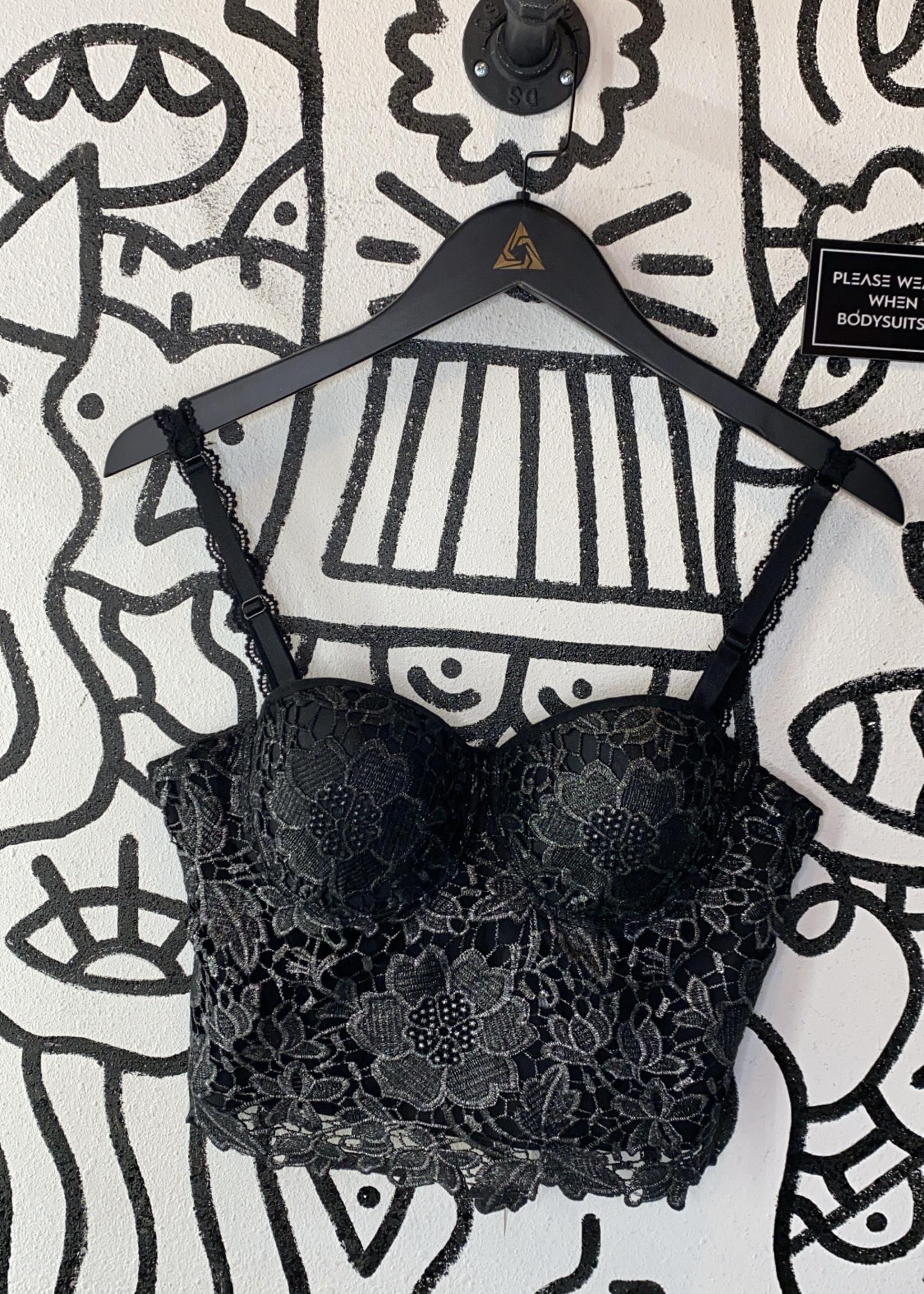 No tag black an silver corset bra M