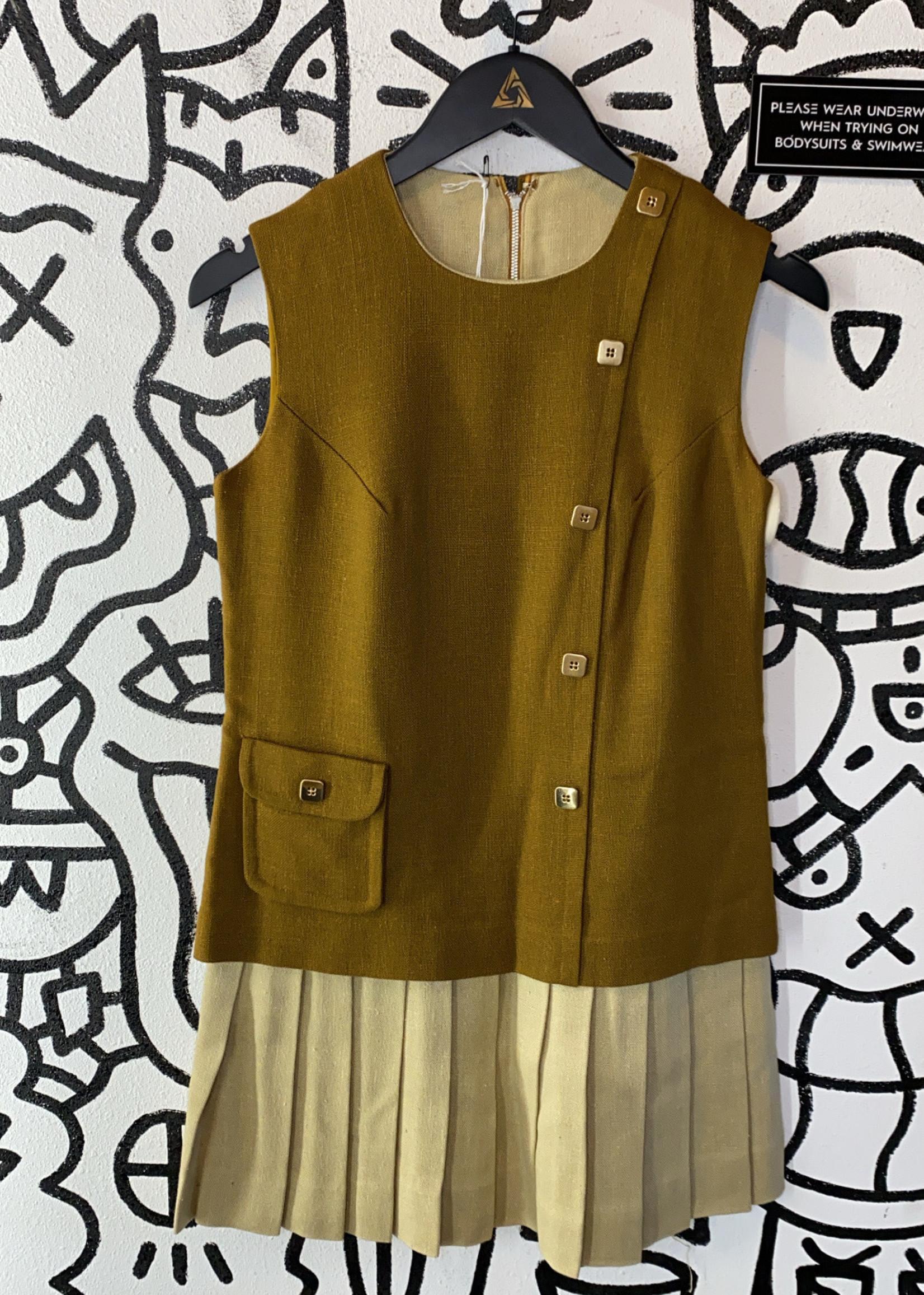 Vintage No Label Brown Beige Button Pleated Dress S