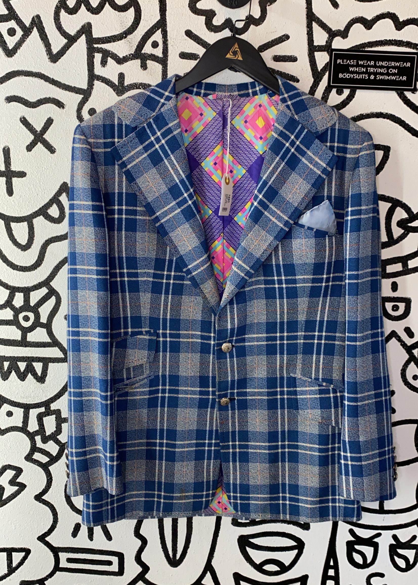 Vintage '70s Custom Blue Plaid Coat Blazer L