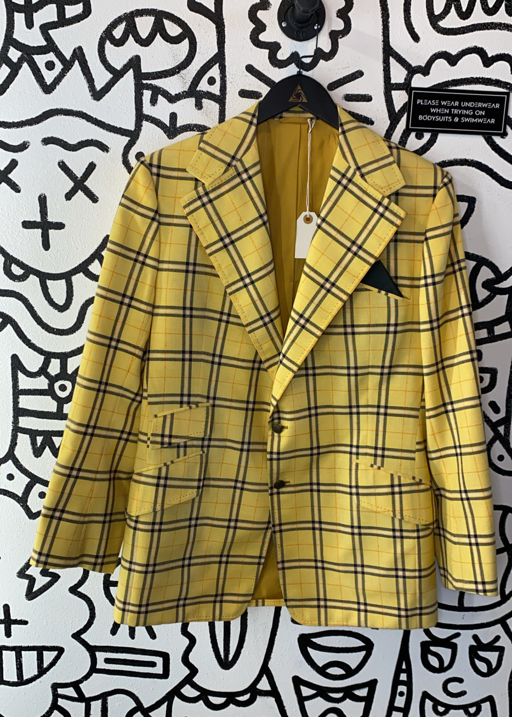 Vintage '70s Custom Yellow Plaid Coat Blazer L