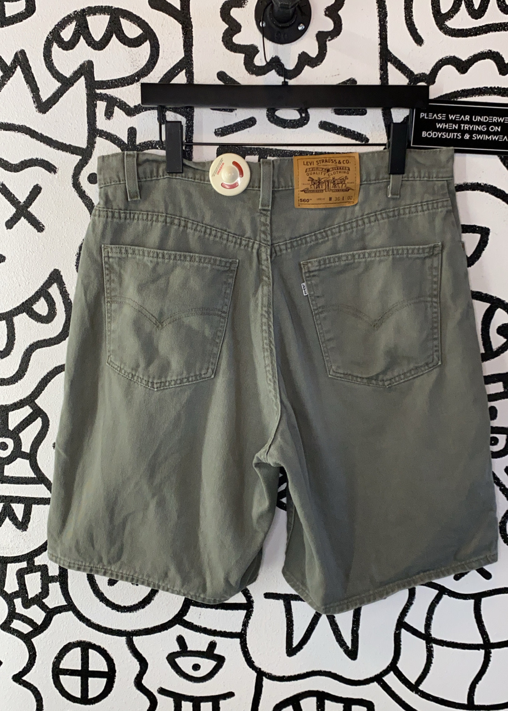 "Vintage Levi's 560 '98 Green Shorts 34"""