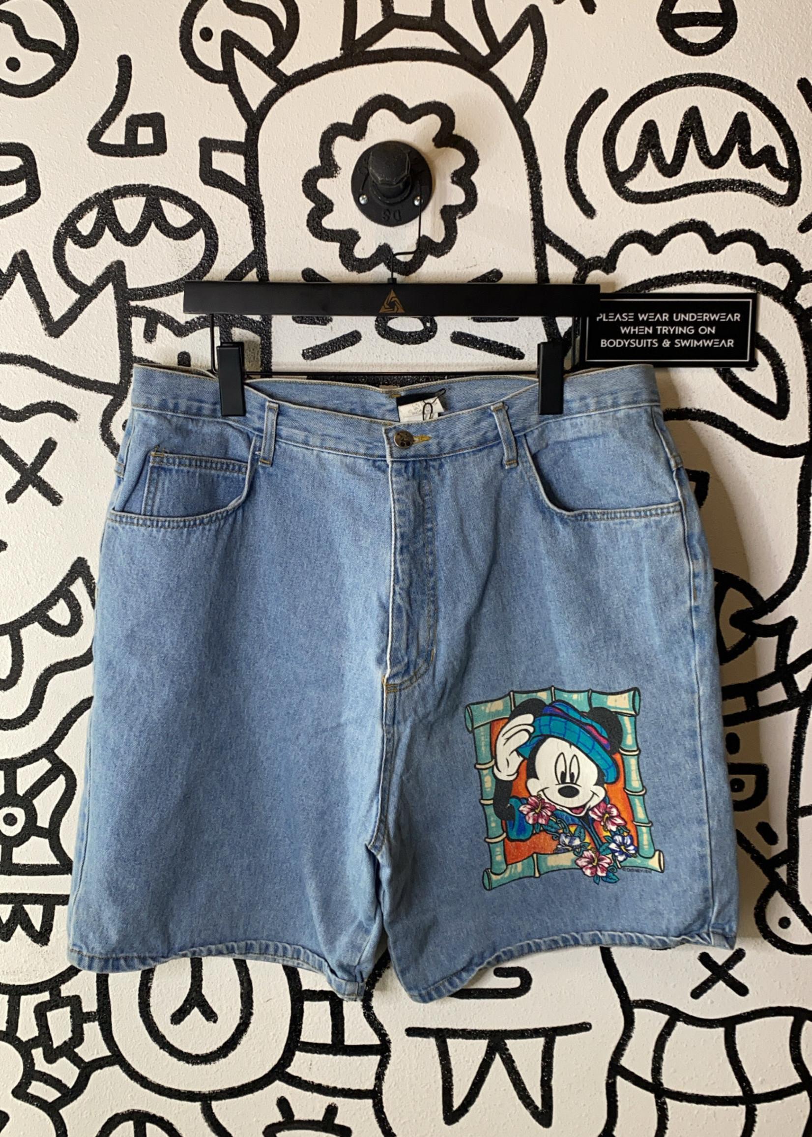 "Vintage Disney Mickey Mouse Denim Shorts 36""1"