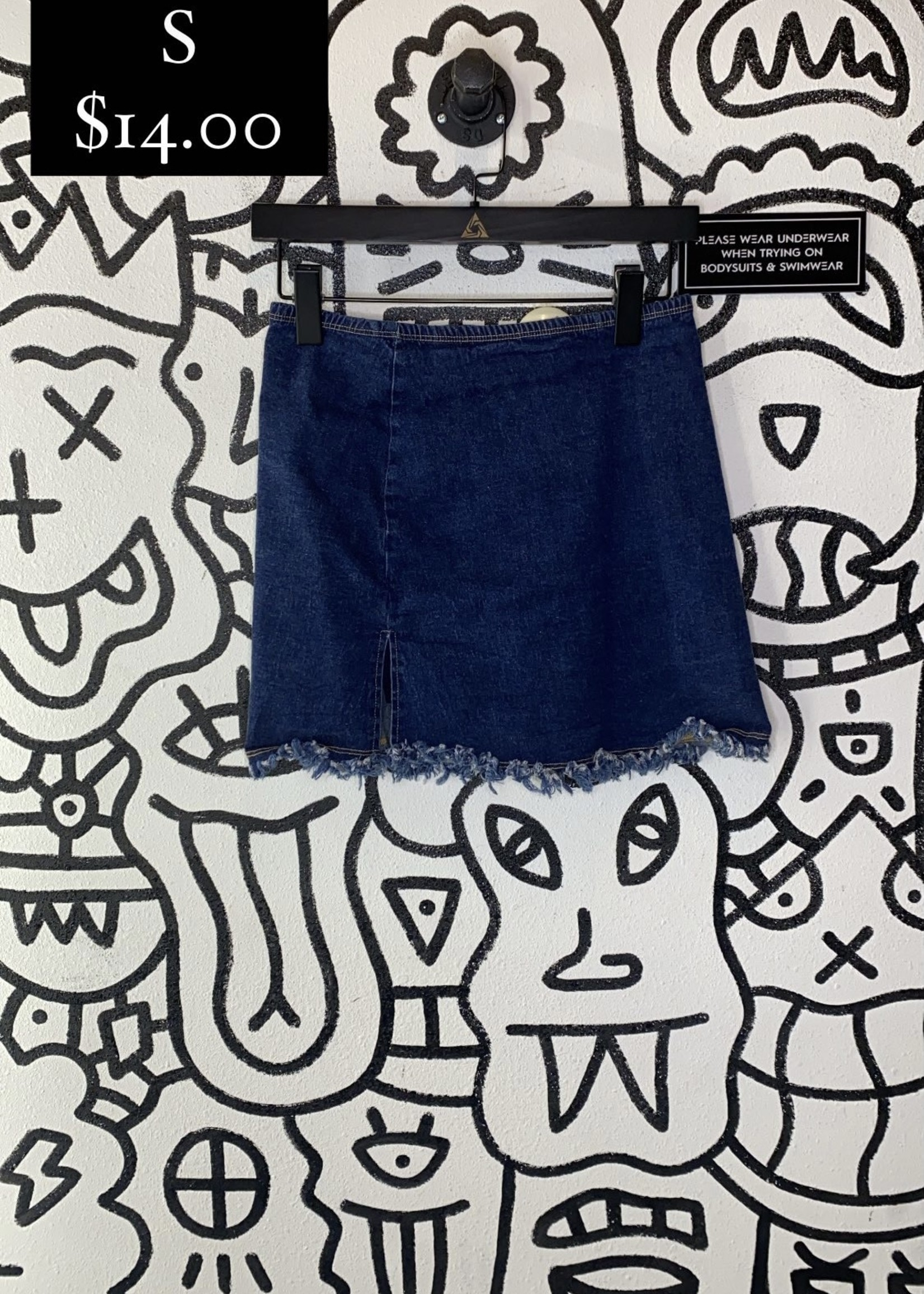 Vintage Edge Denim Stretch Skirt S