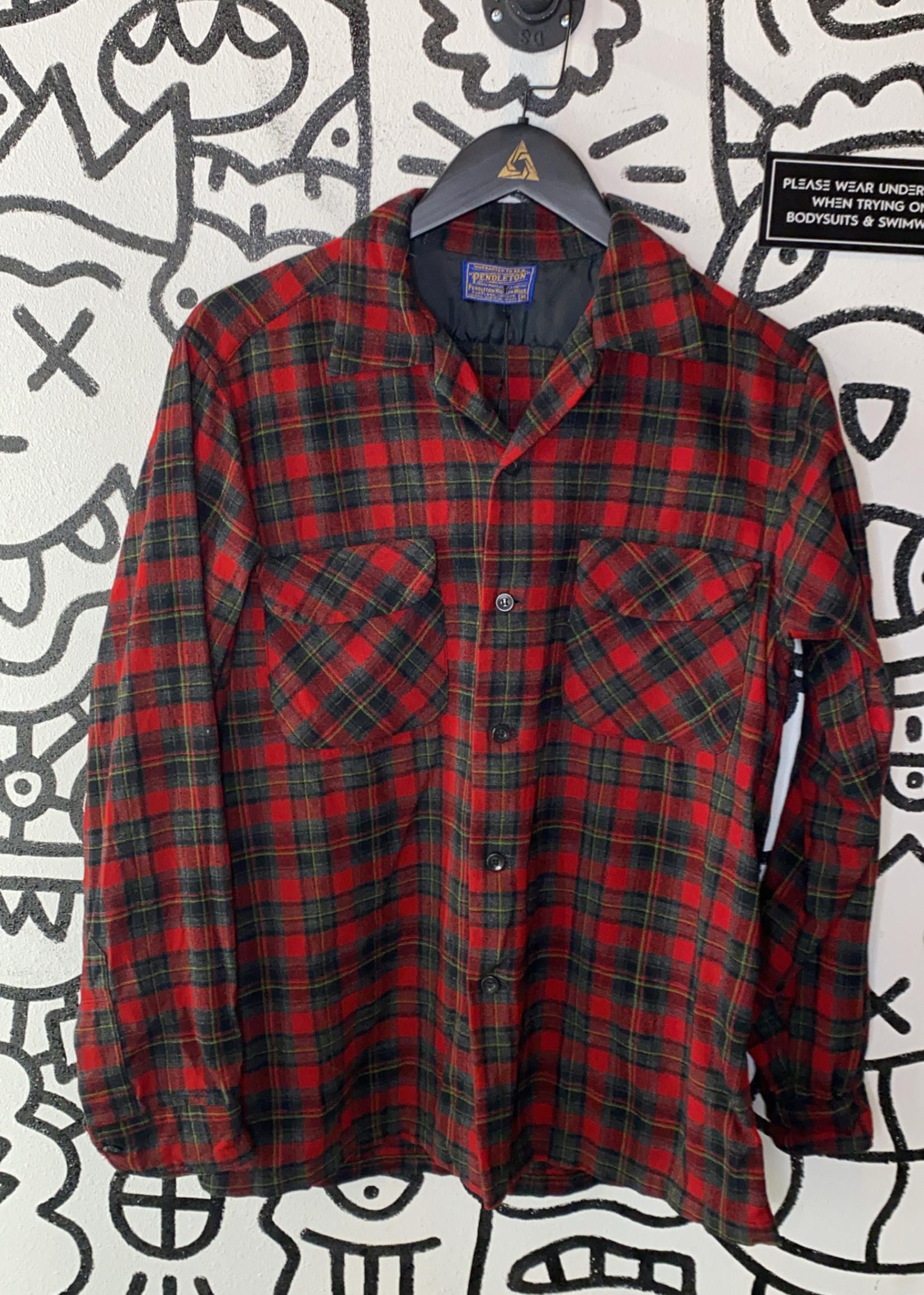 Pendleton Red Plaid Flannel Vintage M