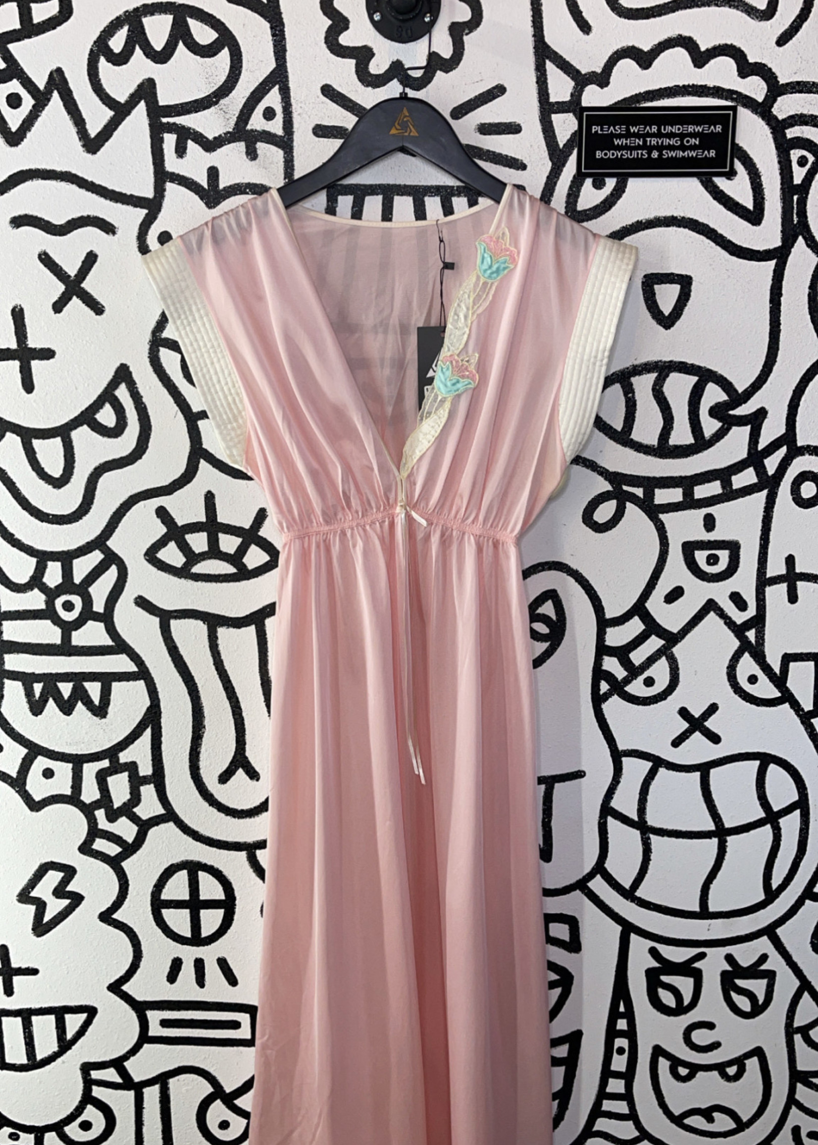 Vintage No label baby pink satin long flow dress S
