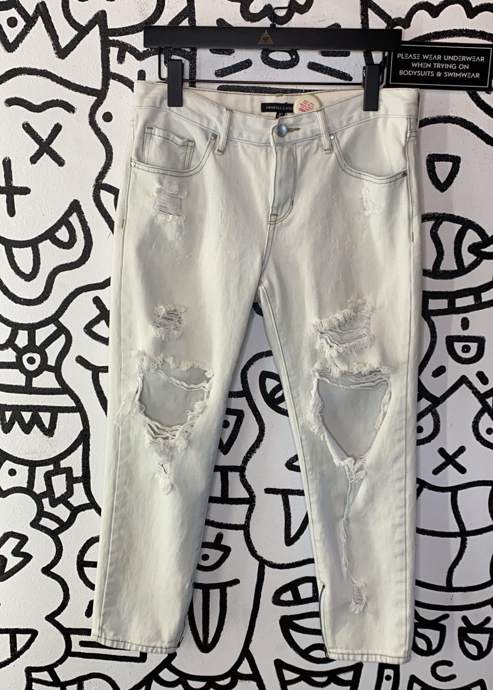 Kendall and Kylie washed distressed wide leg zipper jeans 27