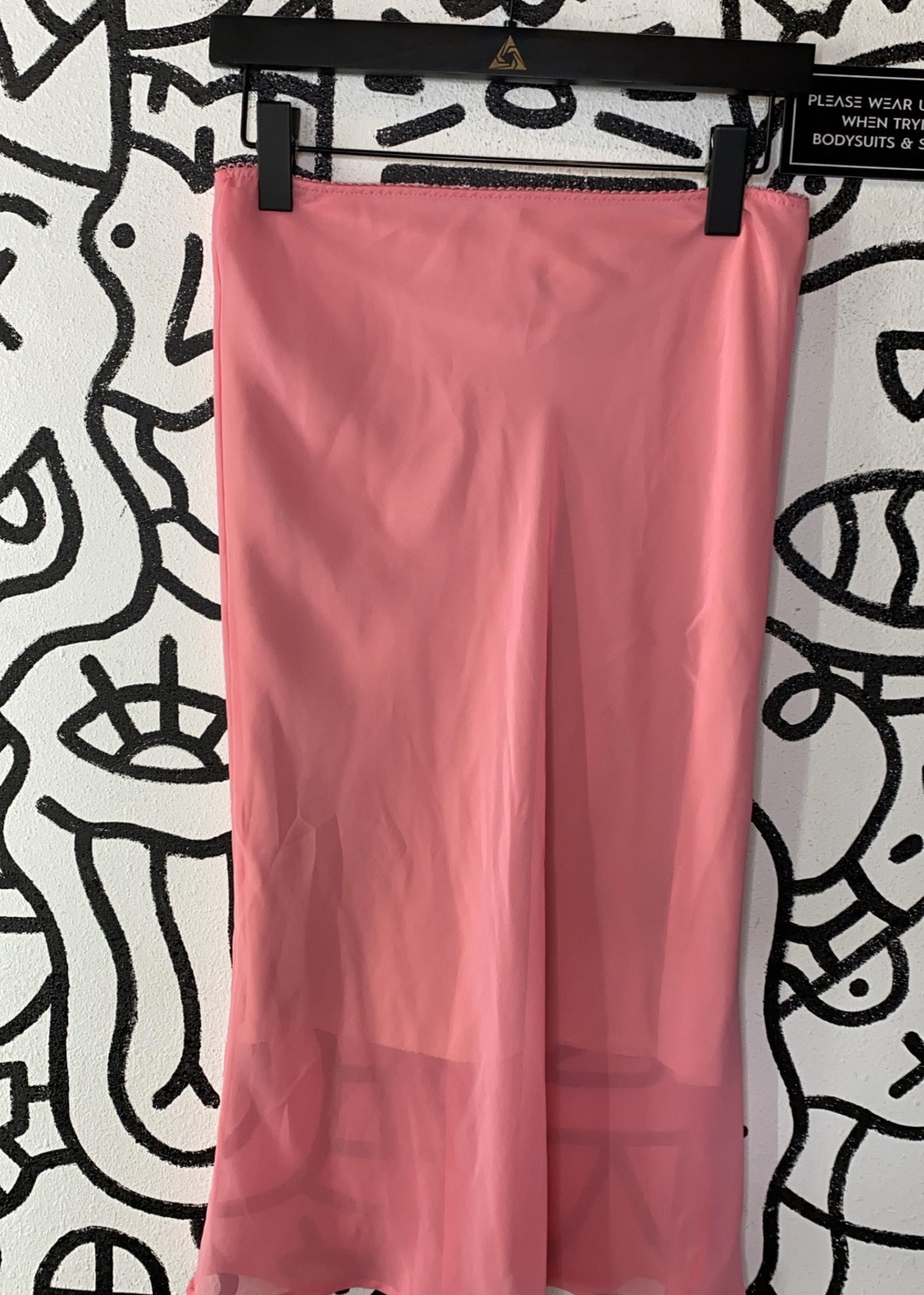 Vintage Baby pink mid sheer skirt S