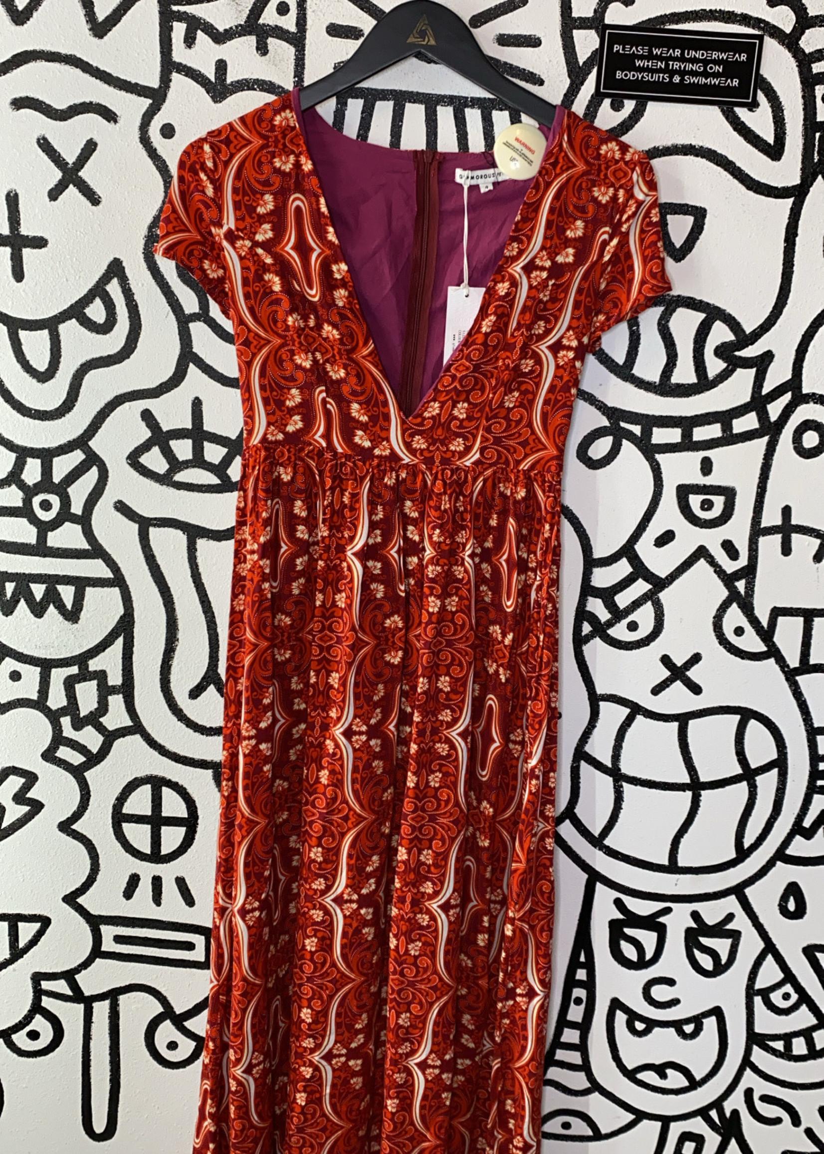 NWT Glamorous Petite Red Pink Design Dress 4 S