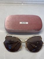 Miu Miu heart shaped gold oversized sunglasses W CASE