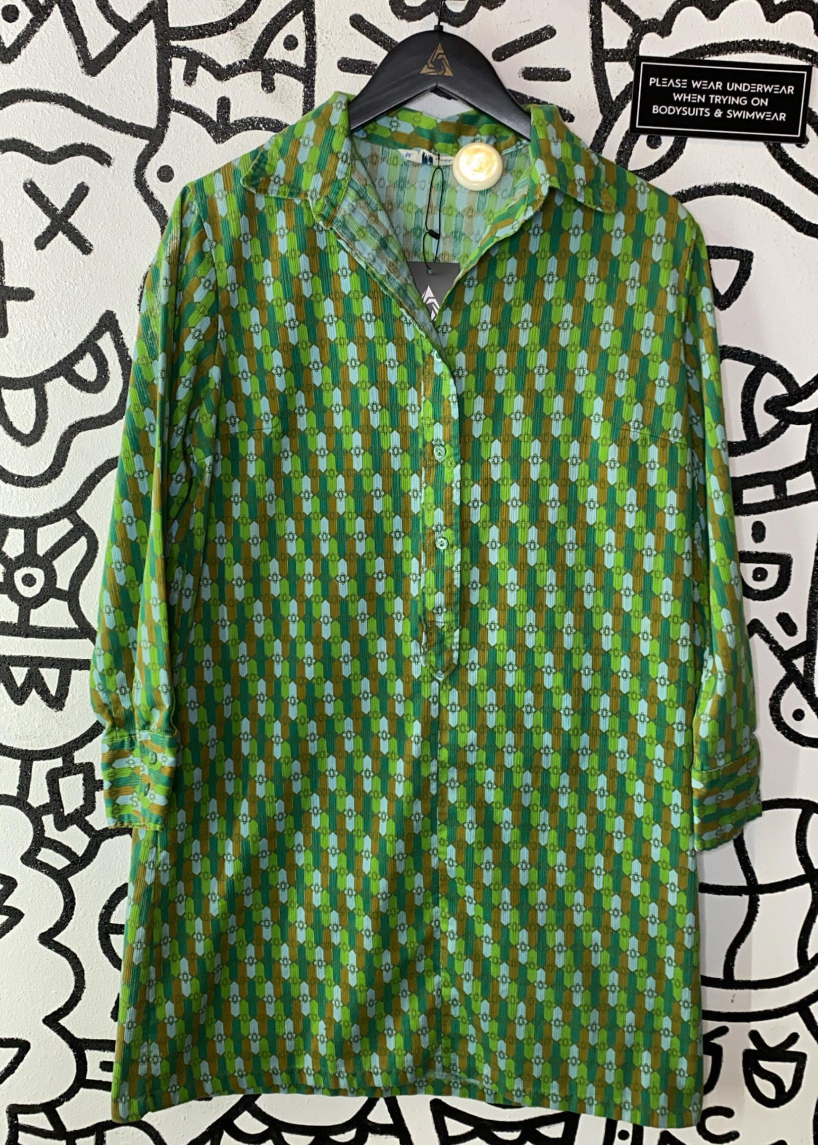 Vintage Permanent Press Retro green patterned dress XXL