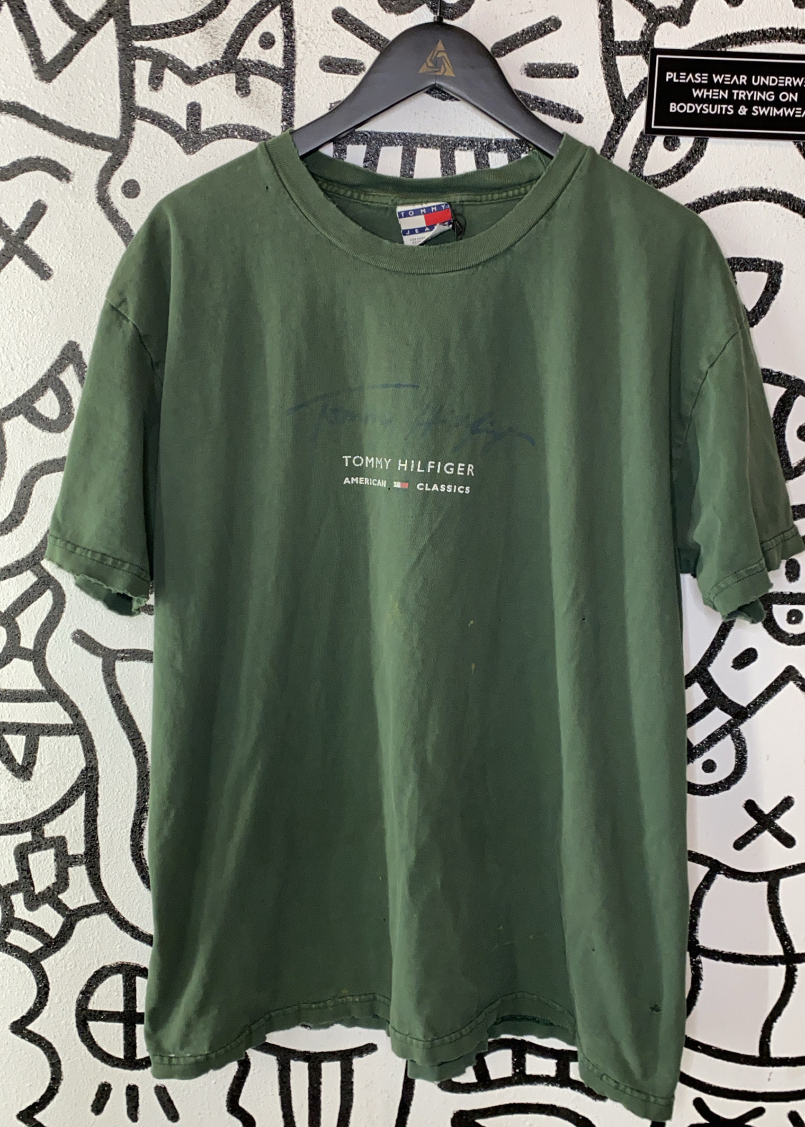 Tommy Hilfiger Vintage Green Distressed Tee As Is XL