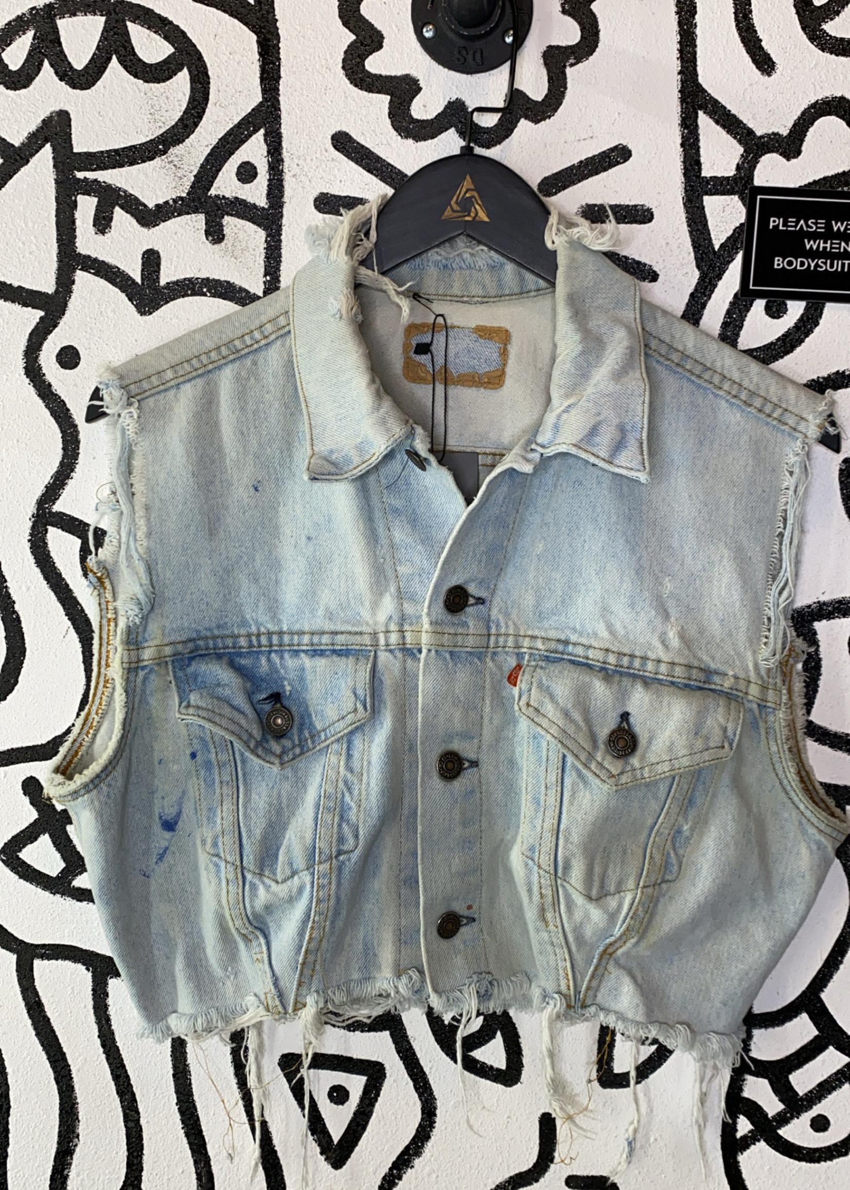 Vintage Levi's Light Wash Distressed Cropped Vest L