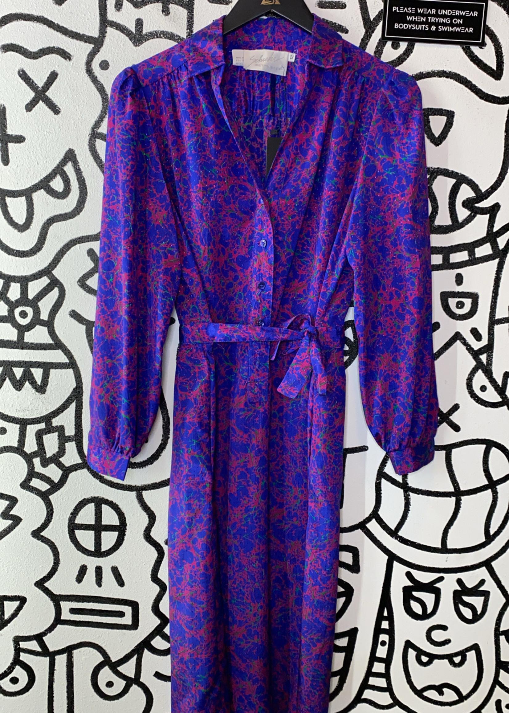 Schrader Vintage Purple Button Down Tie Dress 12 L