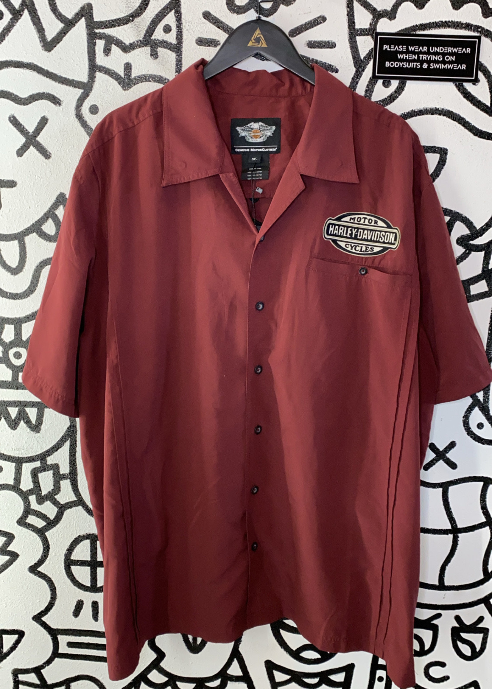 Harley Maroon Embroidered Button Down 3XL