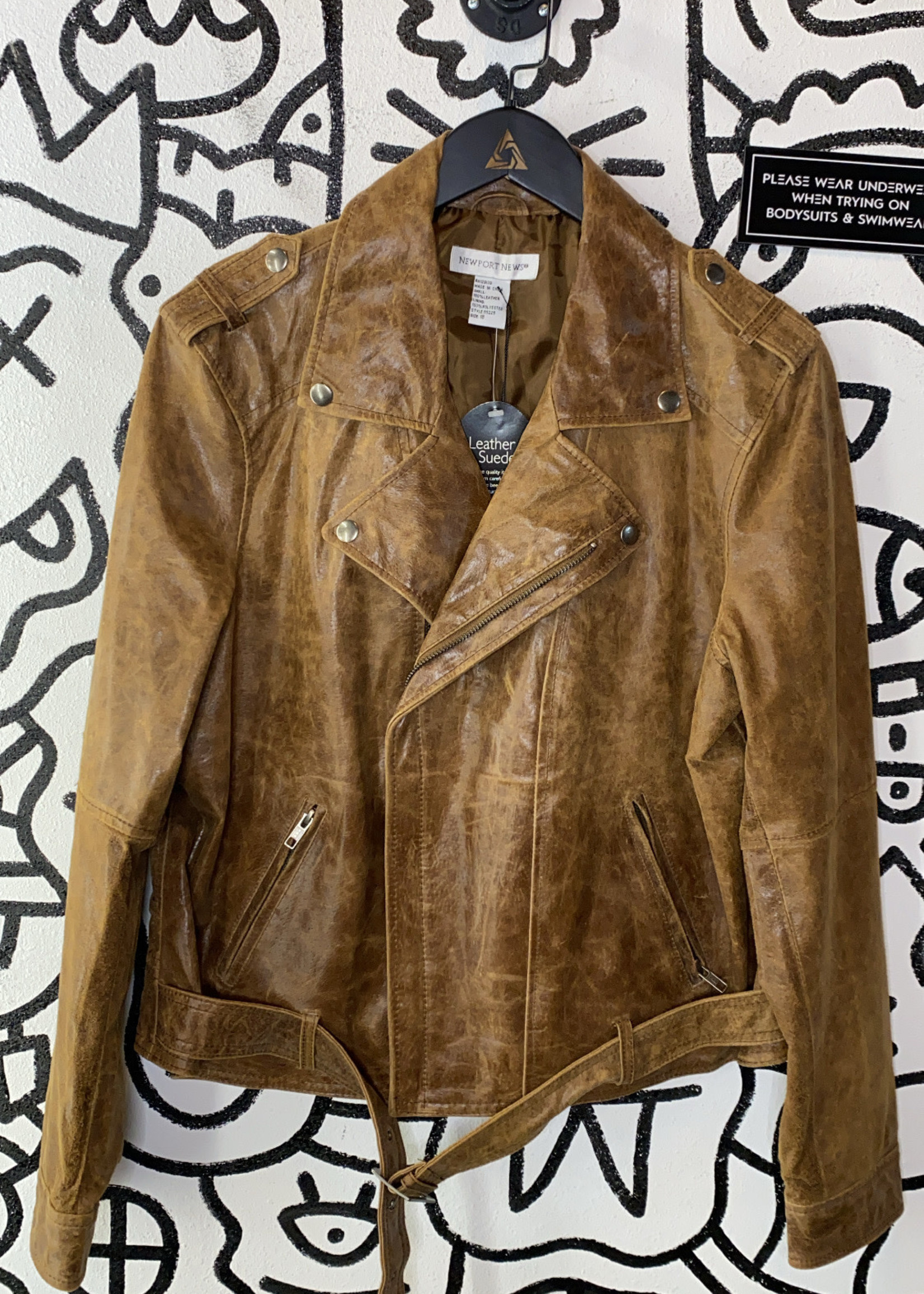 NWT Newport News Leather Brown Moto Jacket 18 XL